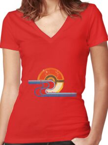 Monster Ball Beach Tee Women's Fitted V-Neck T-Shirt