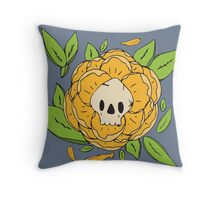 Skull Garden: Skull Peony Throw Pillow
