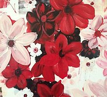 Stunning Red White Flowers  by Kym  Breeze