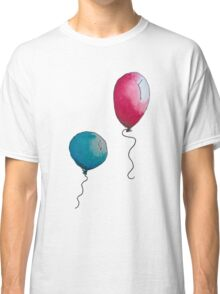 Blue & Red Balloons Watercolor Classic T-Shirt