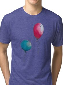 Blue & Red Balloons Watercolor Tri-blend T-Shirt