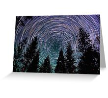 Polaris Star Trails Over Forest in King's Canyon  Greeting Card