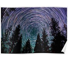 Polaris Star Trails Over Forest in King's Canyon  Poster