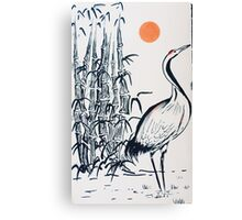 Bamboo and Crane Canvas Print