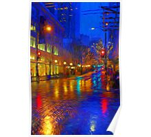 Seattle Street Evening Rain  Poster