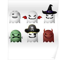 Cute Halloween Ghost Emoji Devil Pirate Frankenstein Poster