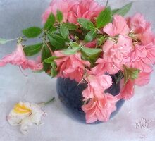 Azaleas in a Blue Vase by LouiseK