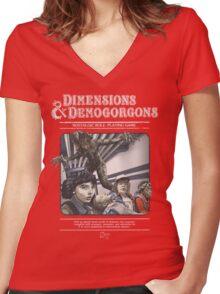 Dimensions & Demogorgons Women's Fitted V-Neck T-Shirt