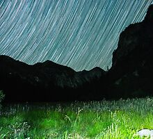 Star Trails Over Mountains in King's Canyon  by Gavin Heffernan