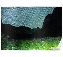 Star Trails Over Mountains in King's Canyon  Poster