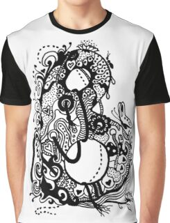 The Letter B Alphabet Aussie Tangle in Black and White Transparent Background Graphic T-Shirt