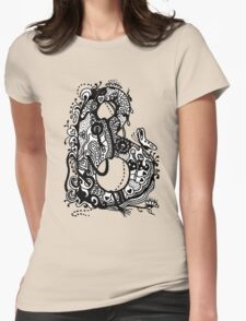 The Letter B Alphabet Aussie Tangle in Black and White Transparent Background Womens Fitted T-Shirt