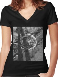 Busted Wheels Women's Fitted V-Neck T-Shirt