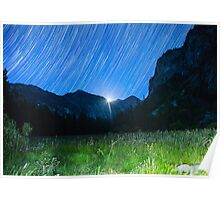 Moon and Star Trails Over King's Canyon Poster