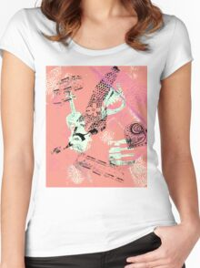Musical Memories 5 Faux Chine Colle Monoprint Var 1 Women's Fitted Scoop T-Shirt
