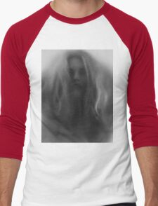 Beautiful young woman face behind hazy glass art photo print Men's Baseball ¾ T-Shirt