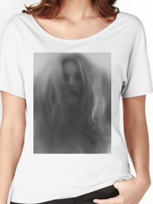 Beautiful young woman face behind hazy glass art photo print Women's Relaxed Fit T-Shirt