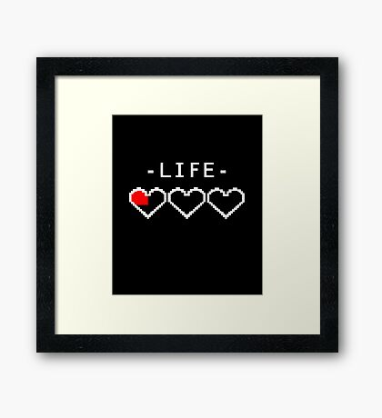 Funny Video Game Gamer Life Heart Over Low HP  Framed Print