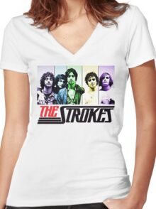 the strokes Women's Fitted V-Neck T-Shirt