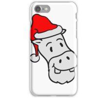 weihnachten weihnachtsmann santa klaus mütze winter geschenke nikolaus comic cartoon kleines süßes niedliches kind nilpferd glücklich  iPhone Case/Skin