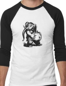 Vintage Elephant (no inscription) - Woodcut Style Men's Baseball ¾ T-Shirt