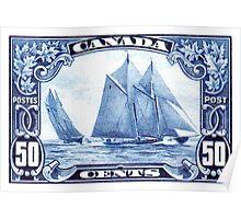 1929 Canada Schooner Bluenose Postage Stamp Poster
