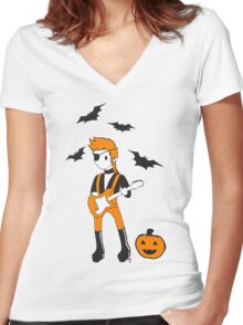 Halloween Jack Women's Fitted V-Neck T-Shirt