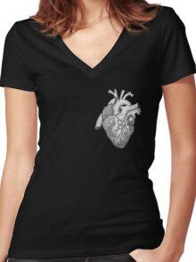 Anatomical Heart Ink Illustration Women's Fitted V-Neck T-Shirt
