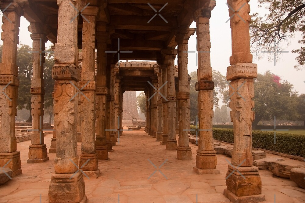 Artistic pillars are all that remain of this old monument inside the Qutub Minar Complex by ashishagarwal74