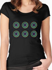 Kaleidoscope Patterns Against Black Women's Fitted Scoop T-Shirt