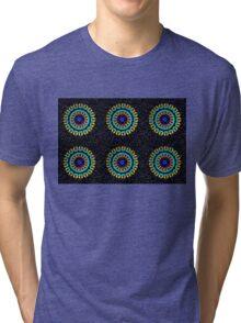 Kaleidoscope Patterns Against Black Tri-blend T-Shirt