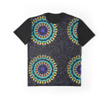 Kaleidoscope Patterns Against Black Graphic T-Shirt