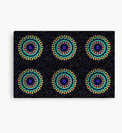 Kaleidoscope Patterns Against Black Canvas Print