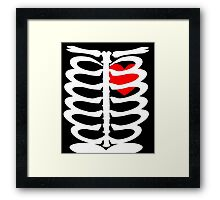 Skeleton Anatomy Bony Rib Cage Red Heart Halloween Graphic Framed Print