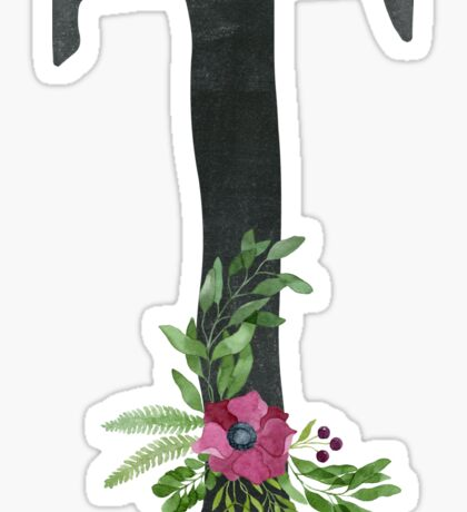 Letter A with Floral Wreath Sticker