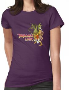 Dragons Lair - White Outline Womens Fitted T-Shirt