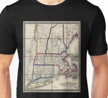 0053 Railroad Maps Railroad map of New England eastern New York complied from the most authentic Unisex T-Shirt