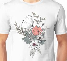 Seamless pattern design with hand drawn flowers and floral elements, gray Unisex T-Shirt