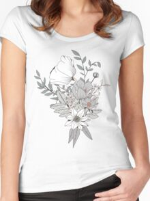 Seamless pattern design with hand drawn flowers and floral elements, white Women's Fitted Scoop T-Shirt