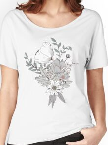 Seamless pattern design with hand drawn flowers and floral elements, white Women's Relaxed Fit T-Shirt