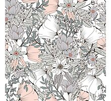 Seamless pattern design with hand drawn flowers and floral elements, white Photographic Print