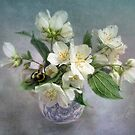 Mock Orange Blossoms Bouquet with Bumble Bee by LouiseK