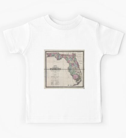 0099 Railroad Maps Drew's new map of the state of Florida showing the townships by the U S Surveys the completed projected railroads the different railroad stations and Kids Tee