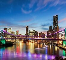 Purple Twilight - Brisbane City Qld Australia by Beth  Wode