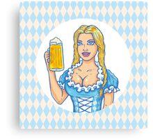 Girl with beer mug  Canvas Print