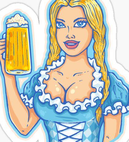 Girl with beer mug  Sticker