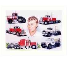 A Man and His Trucks Art Print