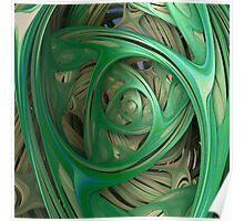 Green Spiral Fractal Poster