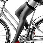 Sexy woman in red high heels and stockings riding bike art photo print by ArtNudePhotos