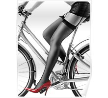 Sexy woman in red high heels and stockings riding bike art photo print Poster
